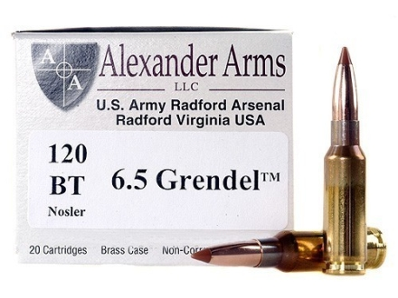 Alexander Arms Ammunition 6.5 Grendel 120 Grain Nosler Ballistic Tip Box of 20