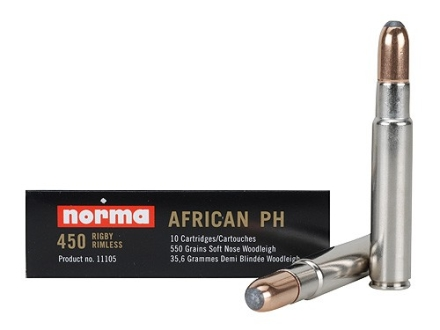 Norma African PH Ammunition 450 Rigby 550 Grain Woodleigh Weldcore Soft Nose Box of 10