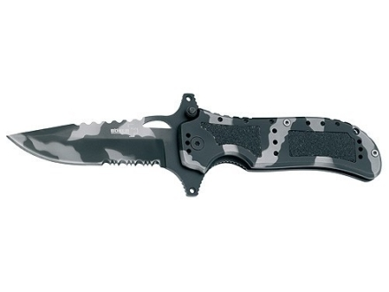 "Boker Plus Camo Defender Folding Knife 3-3/8"" Serrated Drop Point 440C Stainless Steel Blade Aluminum Handle Camo"