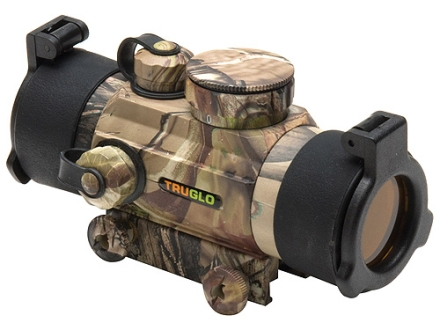 TRUGLO Xtreme Red Dot Sight 30mm Tube 1x Red and Green 4-Pattern Reticle (10 MOA Dot, Crosshair with 1.5 MOA Peep, 3 MOA Center Dot, Crosshair) with Integral Weaver-Style Base Realtree APG Camo