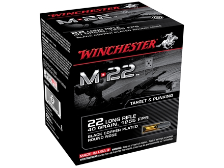 Winchester M-22 Ammunition 22 Long Rifle 40 Grain Black Plated Lead Round Nose Box of 1000