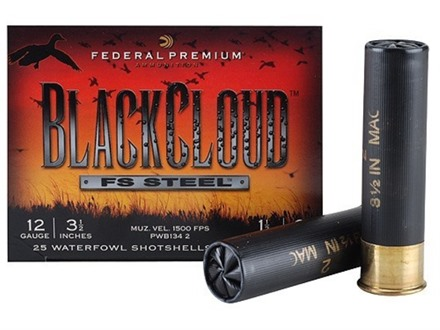 "Federal Premium Black Cloud Ammunition 12 Gauge 3-1/2"" 1-1/2 oz  #2 Non-Toxic FlightStopper Steel Shot Box 25"