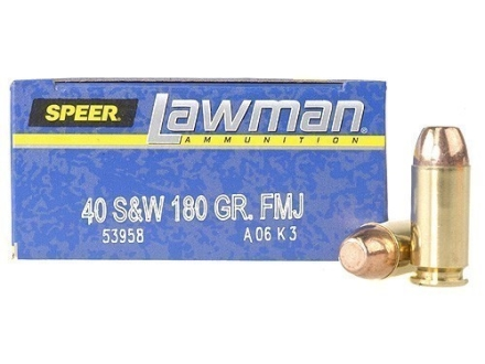Speer Lawman Ammunition 40 S&amp;W 180 Grain Total Metal Jacket Box of 50