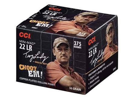 CCI Mini-Mag High Velocity Ammunition Troy Landry Special Edition 22 Long Rifle 36 Grain Plated Lead Hollow Point Box of 375