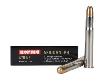 Norma African PH Ammunition 470 Nitro Express 500 Grain Woodleigh Full Metal Jacket Box of 10