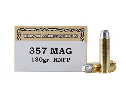 Ten-X Cowboy Ammunition 357 Magnum 130 Grain Lead Round Nose Flat Point Box of 50