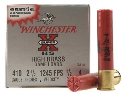 Winchester Super-X High Brass Ammunition 410 Bore 2-1/2&quot; 1/2 oz #4 Shot Box of 25