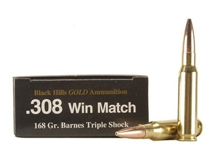 Black Hills Gold Ammunition 308 Winchester 168 Grain Barnes Triple-Shock X Bullet Hollow Point Boat Tail Lead-Free Box of 20