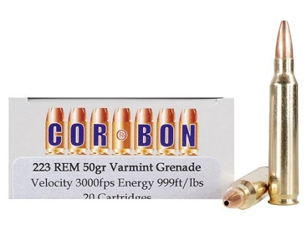 Cor-Bon Self-Defense Ammunition 223 Remington 50 Grain Barnes Varmint Grenade Hollow Point Flat Base Lead-Free Box of 20