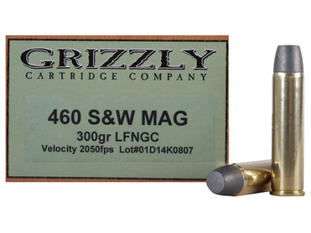 Grizzly Ammunition 460 S&W Magnum 300 Grain Cast Performance Lead Flat Nose Gas Check Box of 20