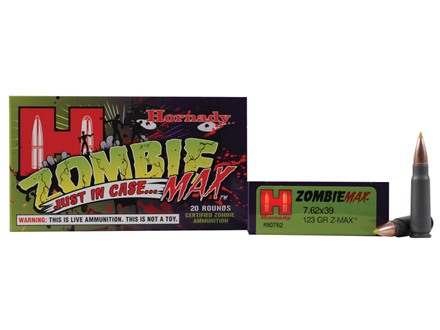 Hornady Zombie Max Ammunition 7.62x39mm Russian 123 Grain Z-Max Steel Case