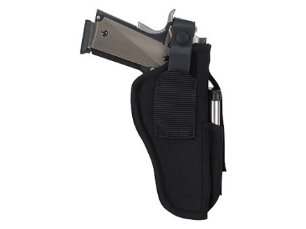 Uncle Mike&#39;s Sidekick Ambidextrous Hip Holster with Magazine Pouch Large Frame Semi-Automatic 3-.75&quot; to 4.5&quot; Barrel Nylon Black