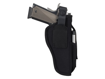 Uncle Mike&#39;s Sidekick Ambidextrous Hip Holster with Magazine Pouch Medium, Large Frame Semi-Automatic 3-1/4&quot; to 3-3/4&quot; Barrel Nylon Black