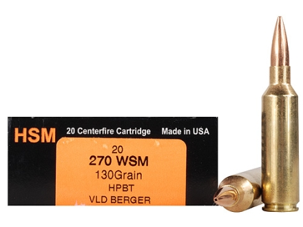 HSM Trophy Gold Ammunition 270 Winchester Short Magnum (WSM) 130 Grain Berger Hunting VLD Hollow Point Boat Tail Box of 20