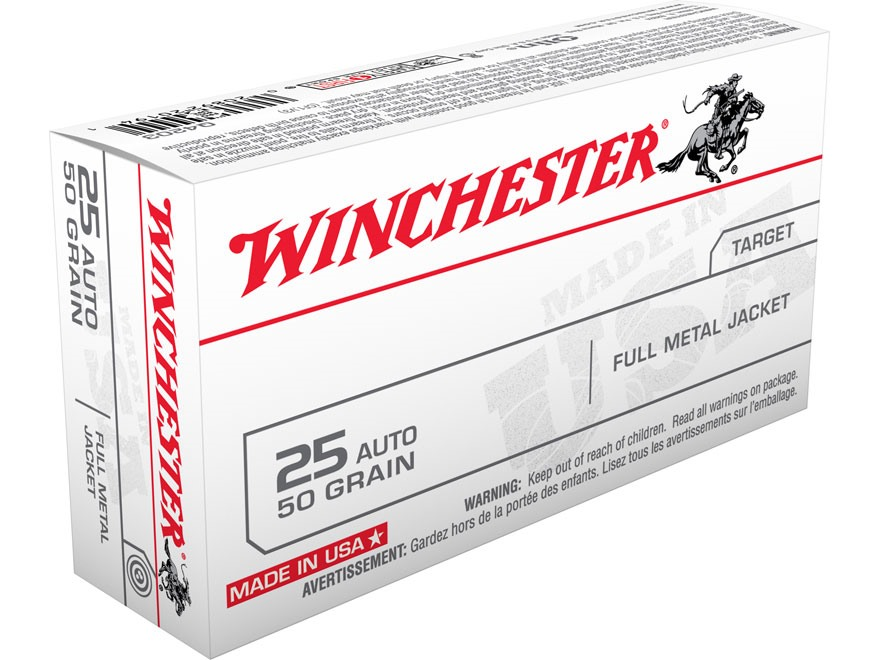 Winchester USA Ammunition 25 ACP 50 Grain Full Metal Jacket