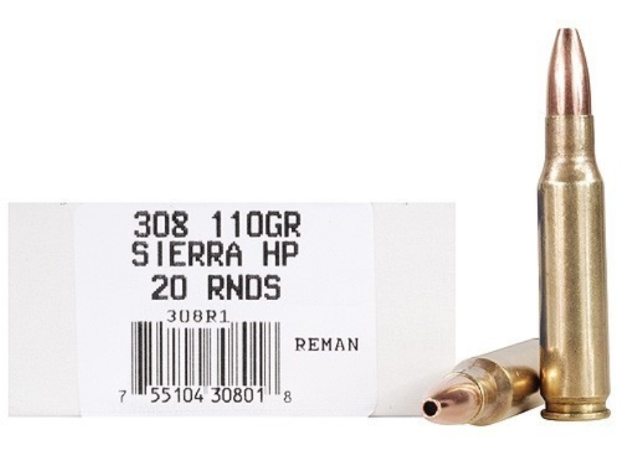 Ultramax Remanufactured Ammunition 308 Winchester 110 Grain Sierra Hollow Point Box of 20