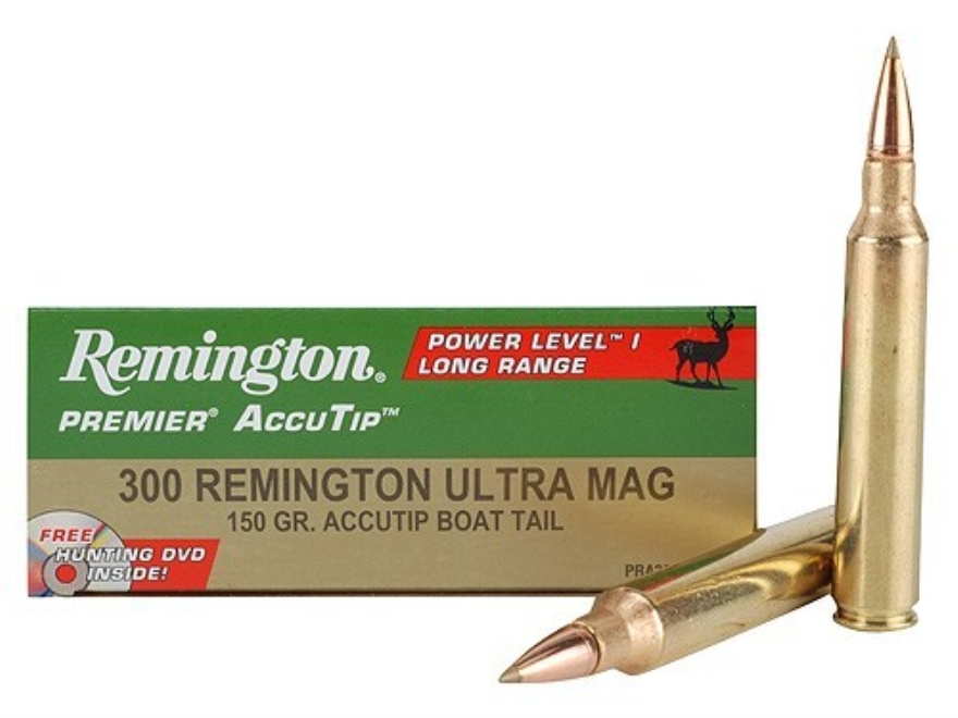 Remington Premier Power Level 1 Ammunition 300 Remington Ultra Magnum 150 Grain AccuTip Boat Tail Box of 20