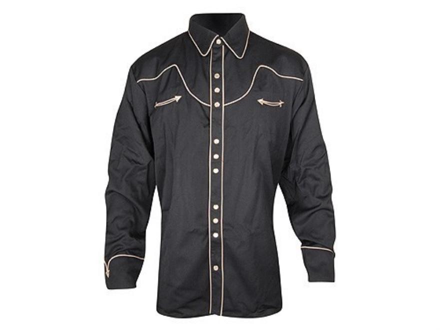 "Scully Tom Horn Shirt Long Sleeve Cotton Black 2XL (52"")"
