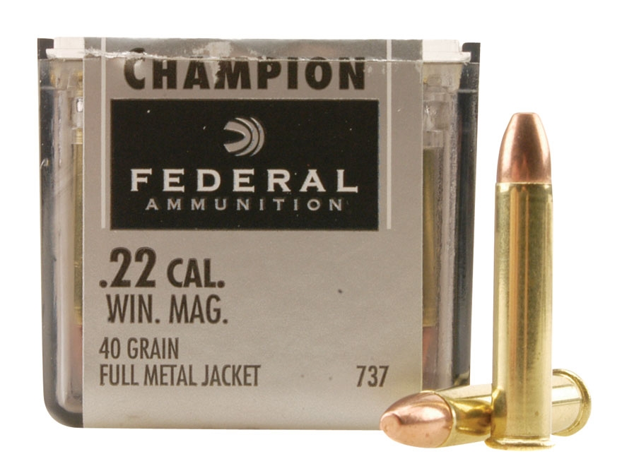 Federal Champion Target Ammunition 22 Winchester Magnum Rimfire (WMR) 40 Grain Full Metal Jacket Box of 500 (10 Boxes of 50)