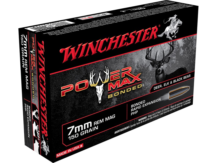 Winchester Power Max Bonded Ammunition 7mm Remington Magnum 150 Grain Protected Hollow Point