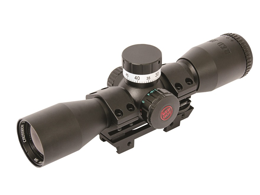 Parker Red Hot Pin Point Crossbow Scope Red and Green Illuminated 4 MOA Dot with Weaver-Style Mount Matte