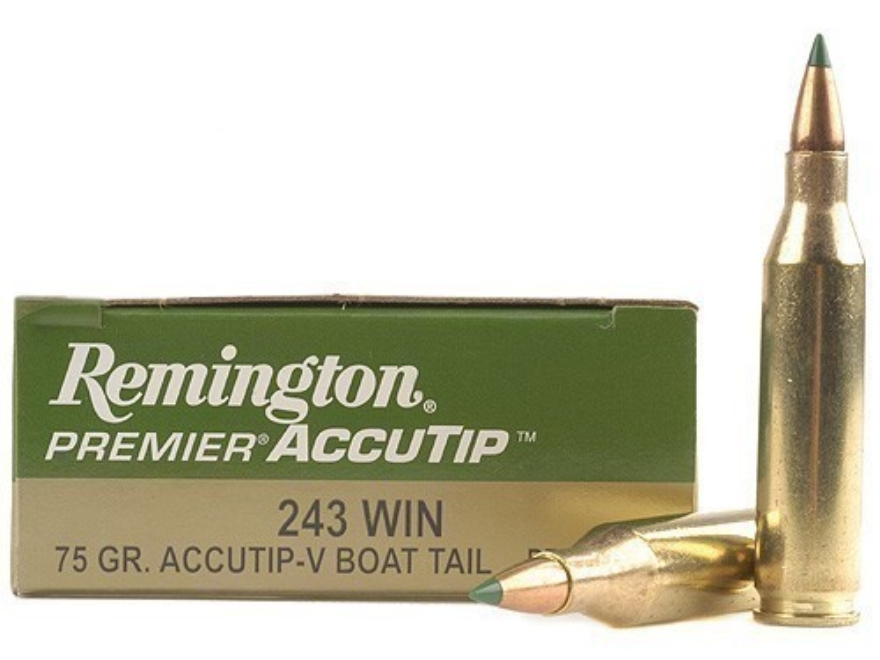 Remington Premier Varmint Ammunition 243 Winchester 75 Grain AccuTip Boat Tail Box of 20