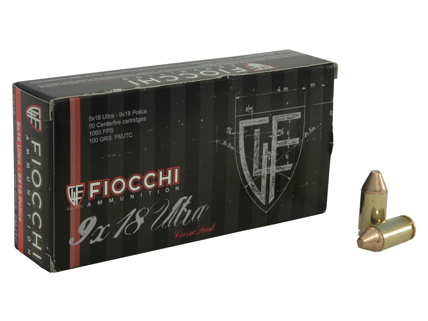Fiocchi Ammunition 9x18mm Ultra 100 Grain Full Metal Jacket Box of 50