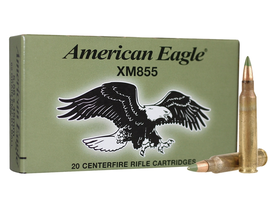Federal American Eagle Ammunition 5.56x45mm NATO 62 Grain M855 SS109 Penetrator Full Me...