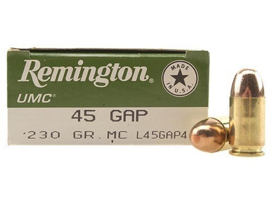 Remington UMC Ammunition 45 GAP 230 Grain Full Metal Jacket