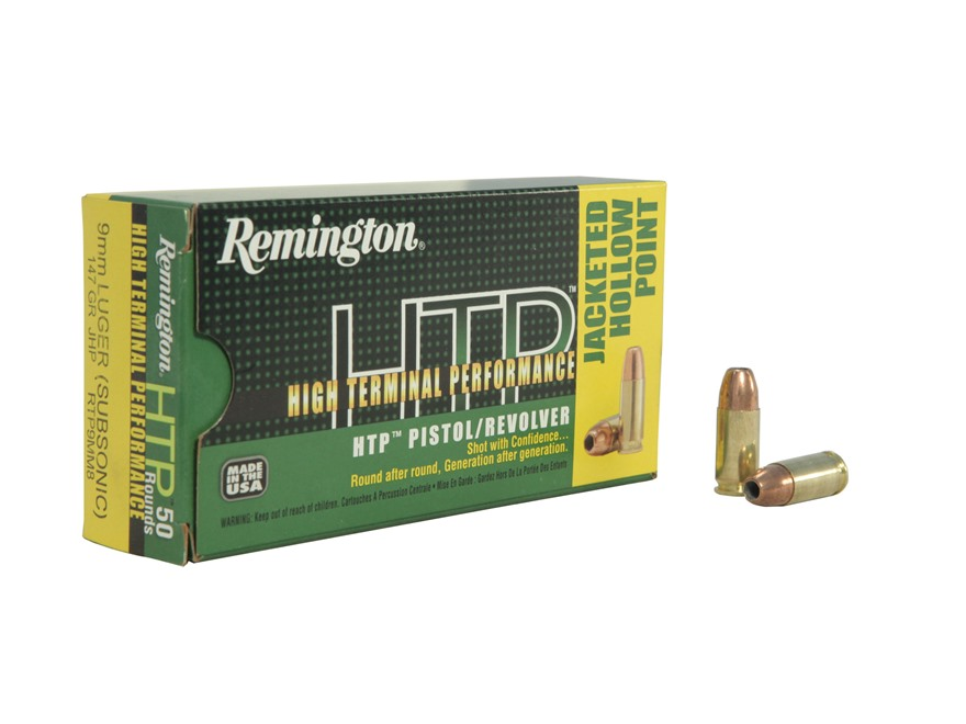 Remington High Terminal Performance Ammunition 9mm Luger 147 Grain Jacketed Hollow Point Box of 50