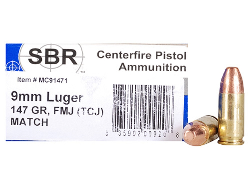 SBR Match Ammunition 9mm Luger 147 Grain Total Copper Jacket Box of 50