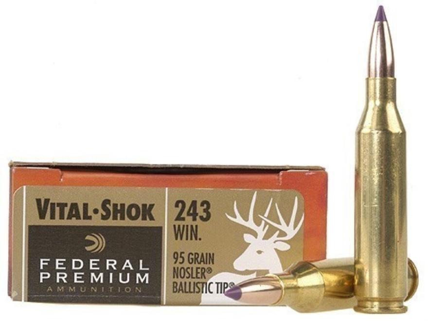 Federal Premium Vital-Shok Ammunition 243 Winchester 95 Grain Nosler Ballistic Tip Box of 20