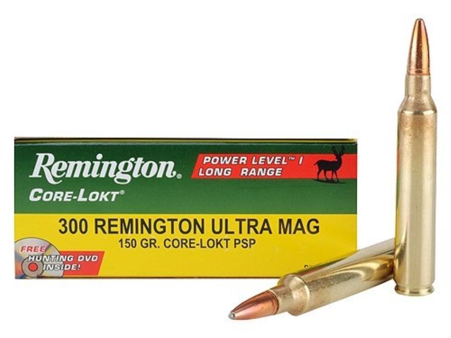 Remington Premier Power Level 1 Ammunition 300 Remington Ultra Magnum 150 Grain Core-Lokt Pointed Soft Point Box of 20