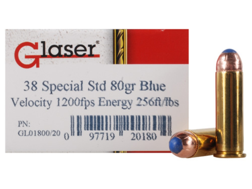 Glaser Blue Safety Slug Ammunition 38 Special 80 Grain Safety Slug