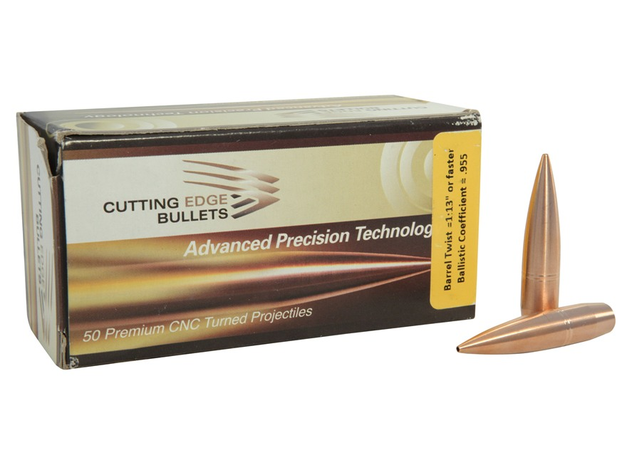 Cutting Edge Bullets Match Tactical Hunting Bullets 408 Caliber (408 Diameter) 415 Grain Low Drag Hollow Point Boat Tail Copper Lead-Free Box of 50