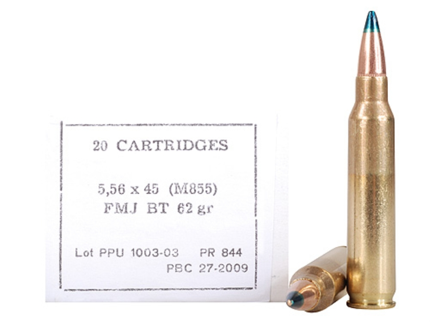 Prvi Partizan Ammunition 5.56x45mm NATO 62 Grain M855 SS109 Penetrator Full Metal Jacket Case of 1000 (5 Battle Packs of 200)