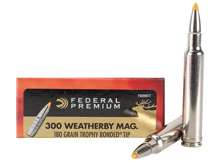 Federal Premium Ammunition 300 Weatherby Magnum 180 Grain Trophy Bonded Tip Box of 20