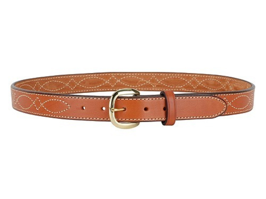 "Hunter 5801 Pro-Hide Belt 1-1/4"" Brass Buckle Stitched Leather Brown 40"""