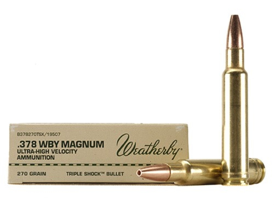 Weatherby Ammunition 378 Weatherby Magnum 270 Grain Barnes Triple-Shock X Bullet Hollow Point Lead-Free Box of 20