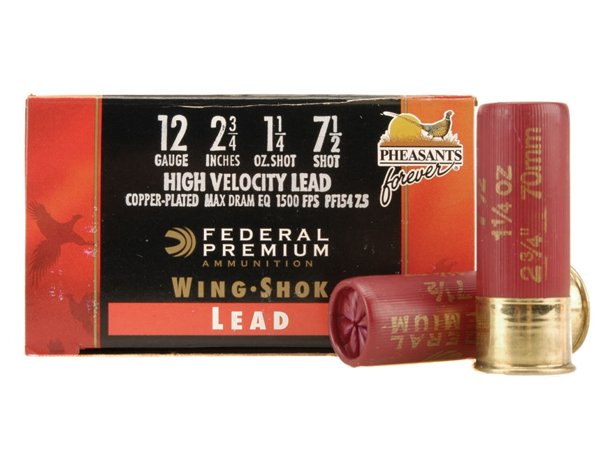 "Federal Premium Wing-Shok Pheasants Forever Ammunition 12 Gauge 2-3/4"" 1-1/4 oz Buffered #7-1/2 Copper Plated Shot Box of 25"