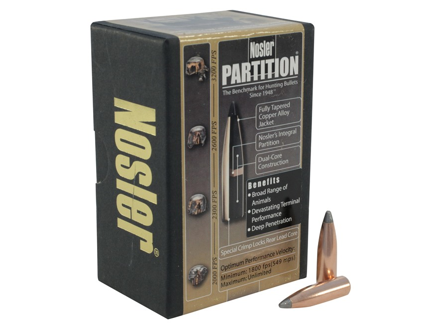 Nosler Partition Bullets 284 Caliber, 7mm (284 Diameter) 140 Grain Spitzer Box of 50