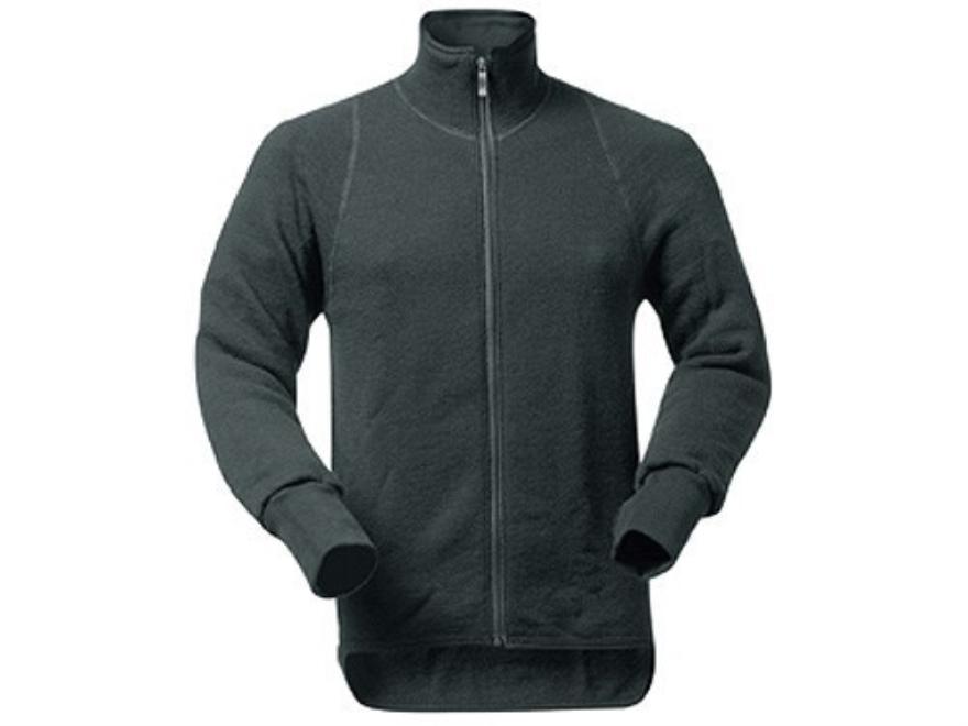 Wool Power Men's Full Zip Long Underwear Shirt Long Sleeve 600 Gram Insulated Wool Blac...