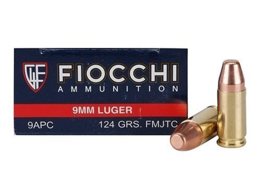 Fiocchi Shooting Dynamics Ammunition 9mm Luger 124 Grain Full Metal Jacket Truncated Cone Box of 50