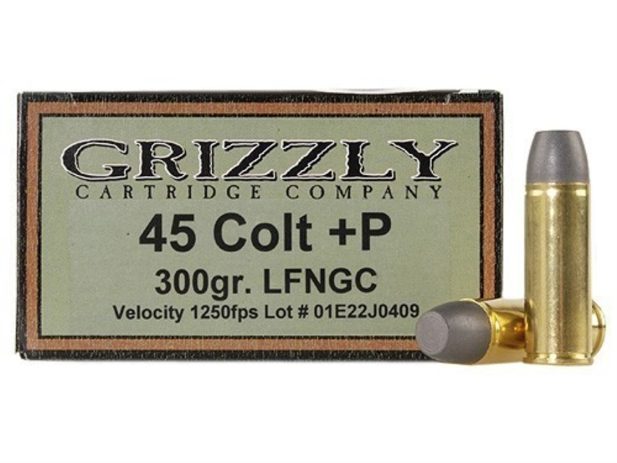 Grizzly Ammunition 45 Colt (Long Colt) +P 300 Grain Cast Performance Lead Long Flat Nose Gas Check Box of 20
