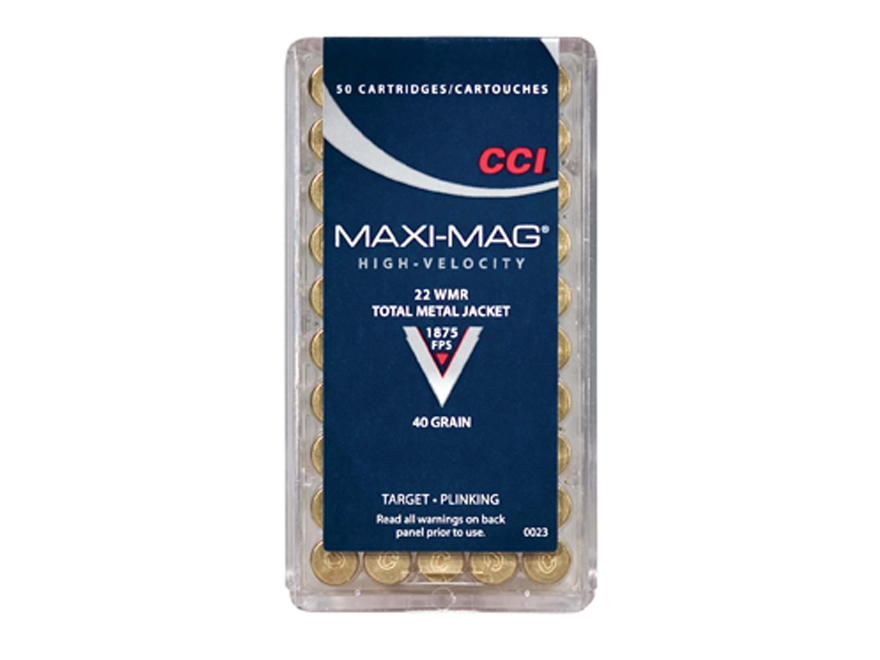 CCI Maxi-Mag Ammunition 22 Winchester Magnum Rimfire (WMR) 40 Grain Total Metal Jacket Box of 500 (10 Boxes of 50)