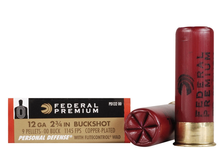 "Federal Premium Personal Defense Ammunition 12 Gauge 2-3/4"" Reduced Recoil 00 Buckshot ..."
