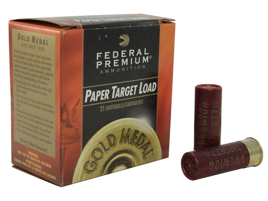 "Federal Premium Gold Medal Paper Ammunition 12 Gauge 2-3/4"" 1-1/8 oz #7-1/2 Shot Box of 25"