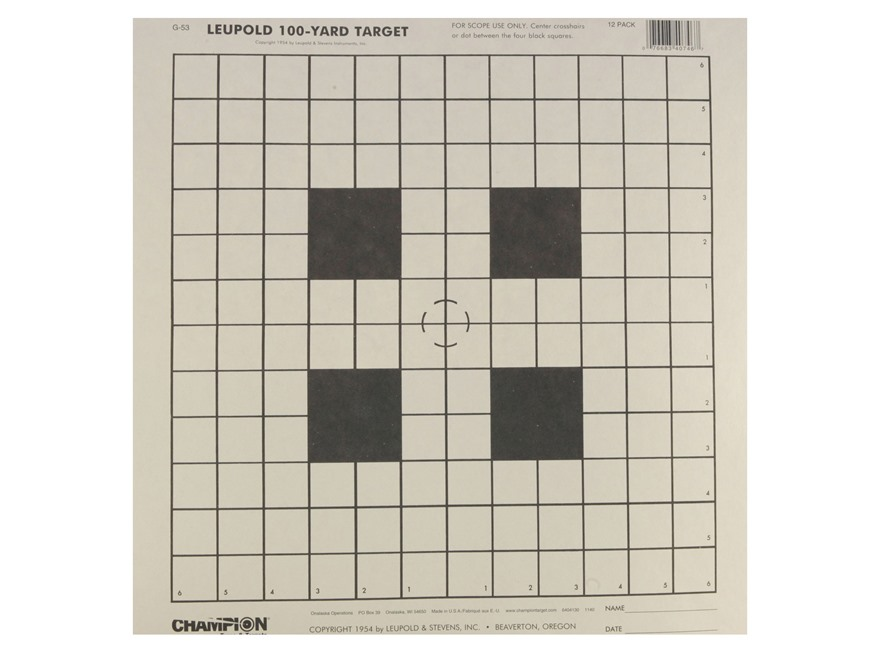 "Champion Official NRA 100 Yard Scope Sighting-In Targets 14"" x14"" Paper Pack of 12"
