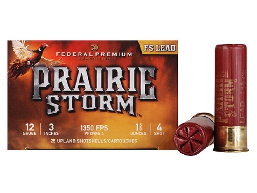 "Federal Premium Prairie Storm Ammunition 12 Gauge 3"" 1-1/4 oz #4 Plated Shot Box of 25"