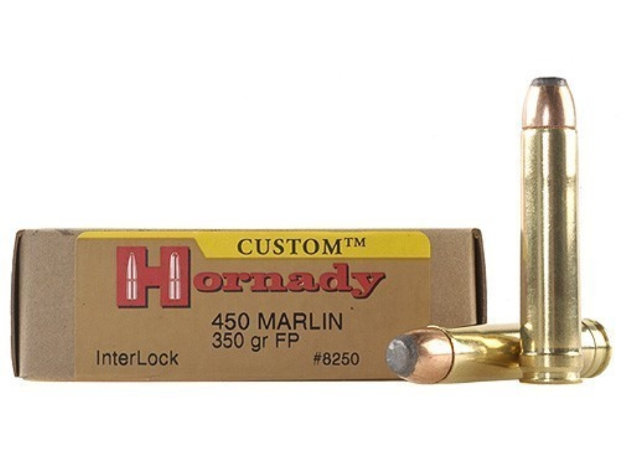 Hornady Custom Ammunition 450 Marlin 350 Grain Flat Nose Box of 20